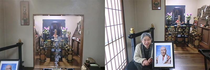 芝山さん、御前様の別室の特別祭壇前にて