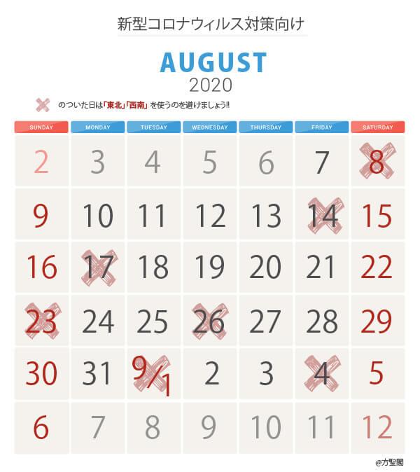 8月新型コロナウィルス注意カレンダー