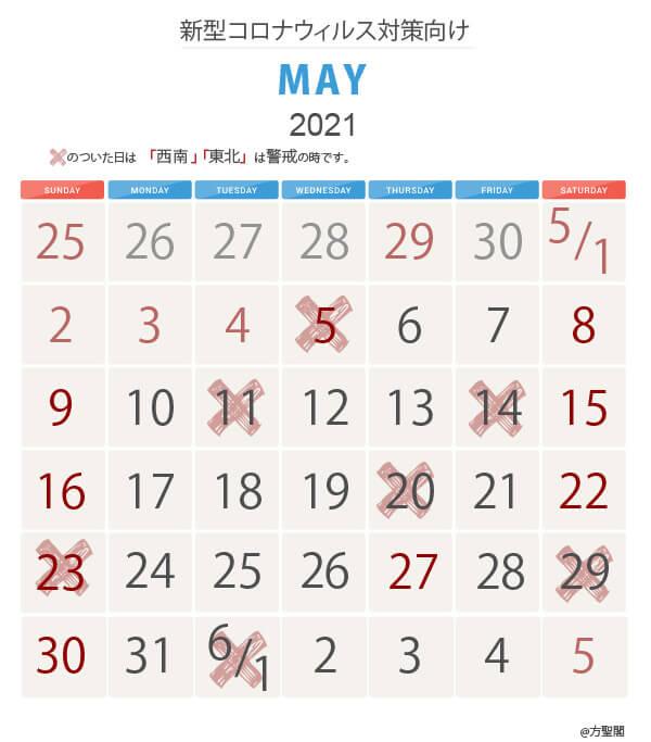 新型コロナ対策カレンダー2021年5月