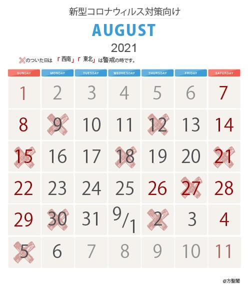 2021年8月新型コロナウィルス注意カレンダー